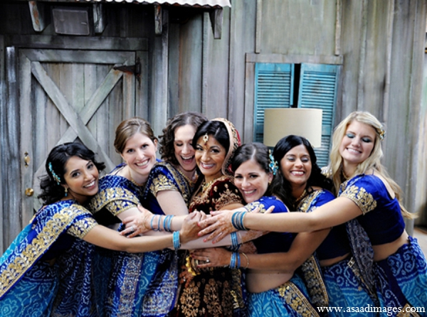 Indian wedding bridal party fashion blue in Orlando, Florida Indian Wedding by Asaad Images