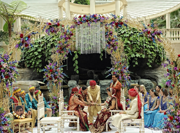 Indian wedding ceremony tradition floral mandap in Orlando, Florida Indian Wedding by Asaad Images