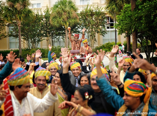 Indian wedding tradition baraat groom custom in Orlando, Florida Indian Wedding by Asaad Images