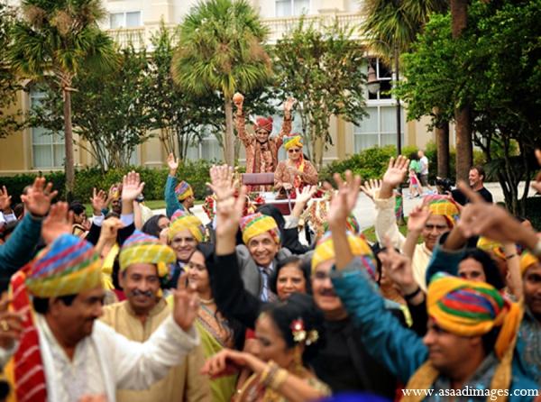 Indian wedding tradition baraat groom custom in Orlando, Florida Indian Wedding by Asaad Images