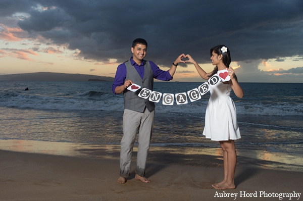 Bride groom beach sign indian wedding engagement in Sunday Sweetheart Winners ~ Ruchi and Maulik by Aubrey Hord Photography
