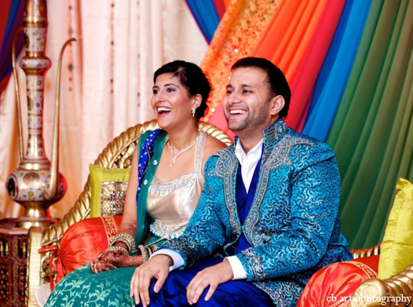 Indian wedding bride groom teal blue