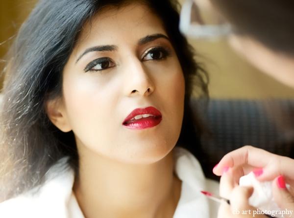 Indian wedding bride makeup red lip