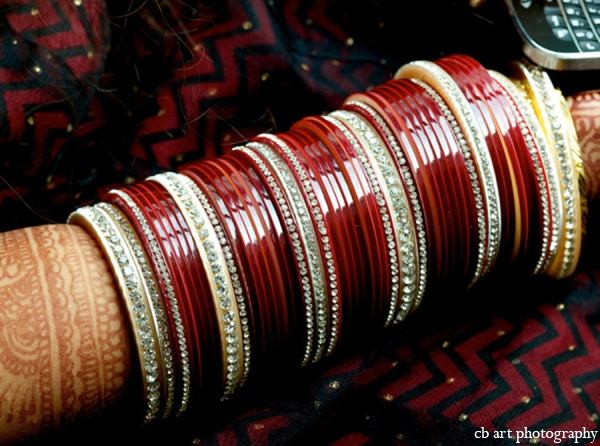 Indian wedding cream bangles red
