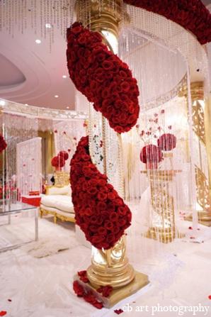 Indian weddingfloral mandap red white