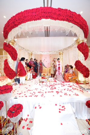 Indian wedding mandap floral white red tradition