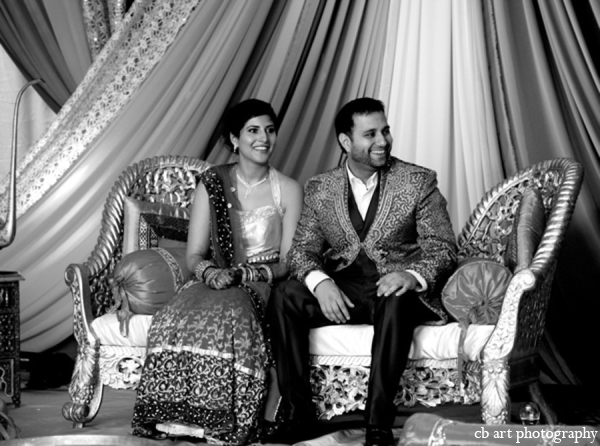 Indian wedding sangeet bride groom photo