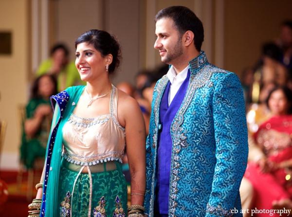 Indian wedding reception fashion blue teal