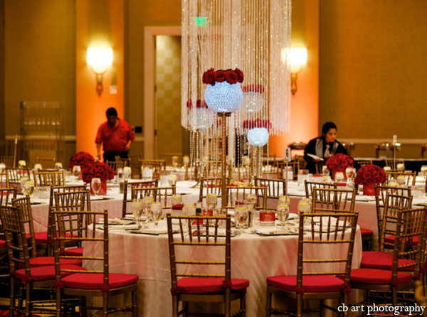 Indian wedding reception lighting decor table