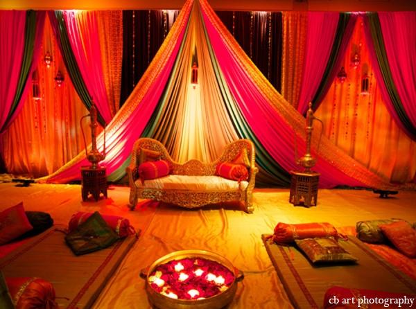 Indian wedding reception lighting decor