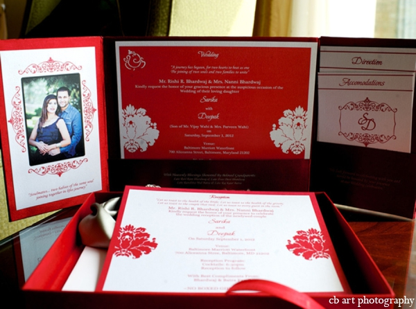 Indian wedding stationary red white