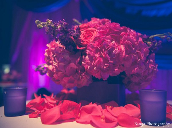 Indian wedding reception floral decor in Glen Rock, NJ Indian Wedding by Banga Photography
