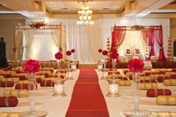 White Gold And Red Wedding Decor