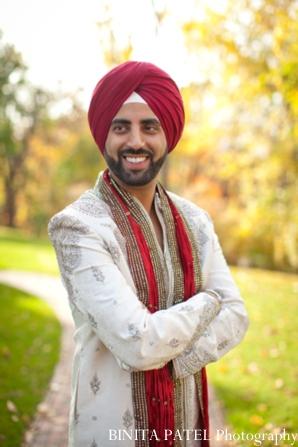 Indian wedding groom portrait in Woburn, MA Indian Fusion Wedding by Binita Patel Photography