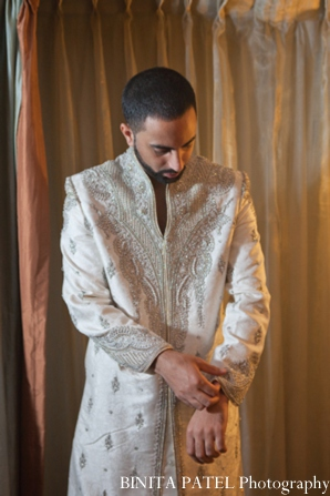 Indian wedding groom sherwani in Woburn, MA Indian Fusion Wedding by Binita Patel Photography