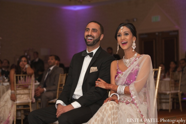 Indian wedding reception bride groom in Woburn, MA Indian Fusion Wedding by Binita Patel Photography