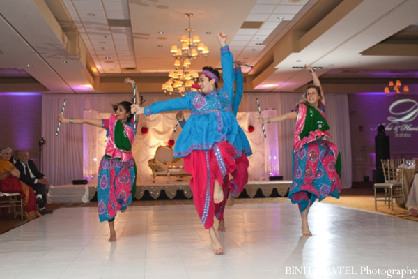 Indian wedding reception dancers in Woburn, MA Indian Fusion Wedding by Binita Patel Photography