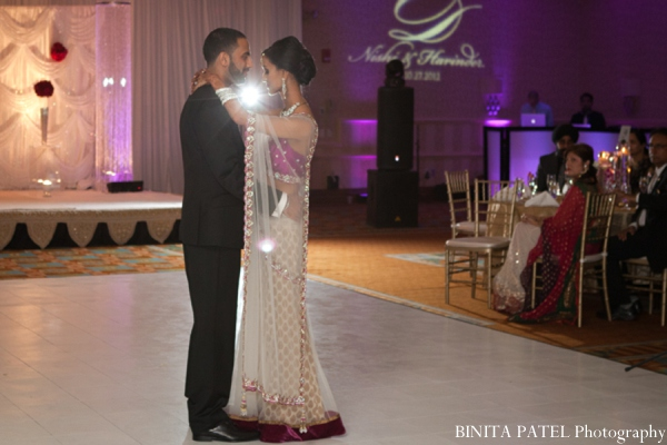 Indian wedding reception design in Woburn, MA Indian Fusion Wedding by Binita Patel Photography