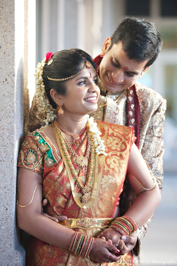 gold,orange,bridal fashions,portraits,indian wedding portrait,portrait of bride and groom,traditional dress,BINITA PATEL Photography,indian couple portraits
