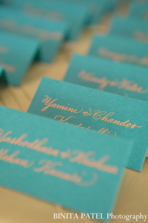 Indian wedding reception table cards seating in Boston, Massachusetts Indian Wedding by Binita Patel Photography