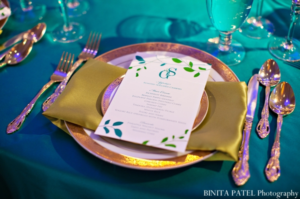 Indian wedding table setting reception inspiration in Boston, Massachusetts Indian Wedding by Binita Patel Photography