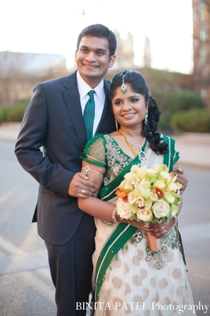 Indian wedding bride groom portrait floral bouquet in Boston, Massachusetts Indian Wedding by Binita Patel Photography