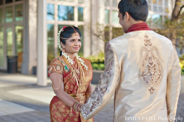 gold,orange,portraits,indian wedding portrait,portrait of bride and groom,traditional dress,BINITA PATEL Photography,indian couple portraits