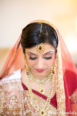 Indian wedding bridal portrait traditional lengha in San Diego, California Indian Wedding by Braja Mandala Wedding Photography