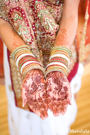 Indian wedding bridal portrait traditional henna bangles in San Diego, California Indian Wedding by Braja Mandala Wedding Photography