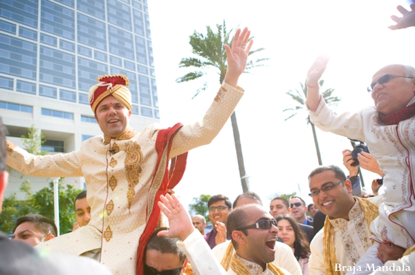 Indian wedding baraat celebration traditional in San Diego, California Indian Wedding by Braja Mandala Wedding Photography