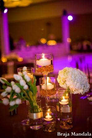 Indian wedding reception decor lighting floral in San Diego, California Indian Wedding by Braja Mandala Wedding Photography