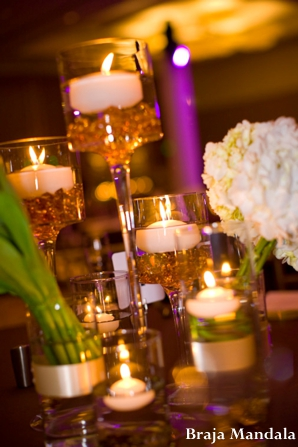 Indian wedding reception decor lighting floral in San Diego, California Indian Wedding by Braja Mandala Wedding Photography