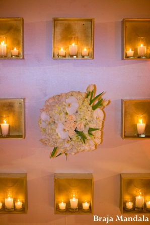 Indian wedding reception lighting decor floral in San Diego, California Indian Wedding by Braja Mandala Wedding Photography
