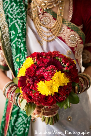 Indian wedding bridal bouquet lengha in Newport Beach, California Indian Wedding by Brandon Wong Photography