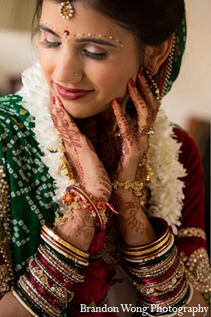 Indian wedding bride makeup fashion in Newport Beach, California Indian Wedding by Brandon Wong Photography