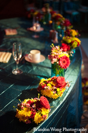 Indian wedding reception decor floral in Newport Beach, California Indian Wedding by Brandon Wong Photography