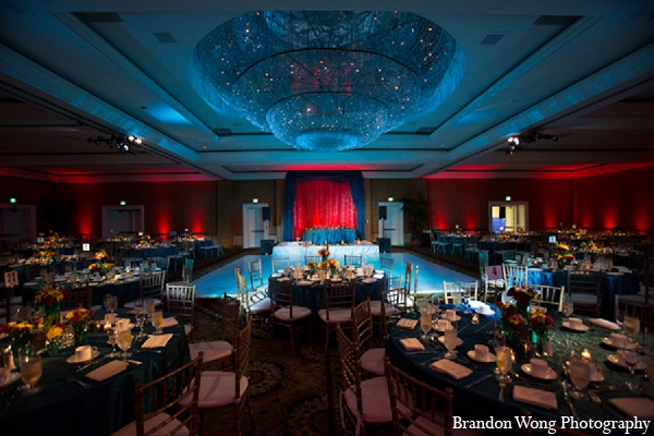 Indian wedding reception decor lighting in Newport Beach, California Indian Wedding by Brandon Wong Photography