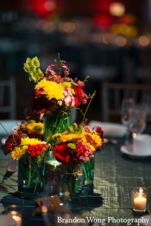 Indian wedding reception floral decor in Newport Beach, California Indian Wedding by Brandon Wong Photography
