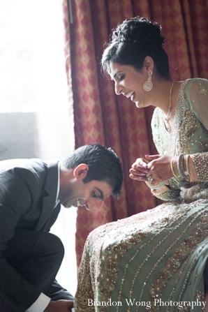 Indian-wedding-bride-groom-getting-ready-together-for-reception