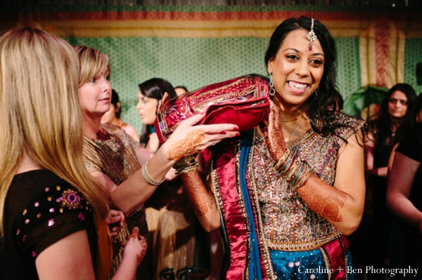 Indian wedding ceremony bride tikka