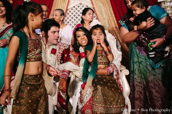 Indian wedding ceremony groom bride family