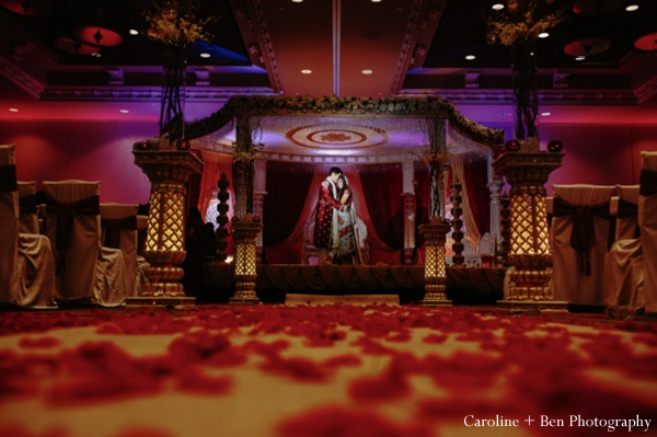Indian wedding ceremony portrait bride groom mandap
