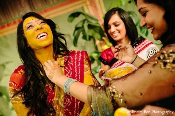 Indian wedding gaye holud bride