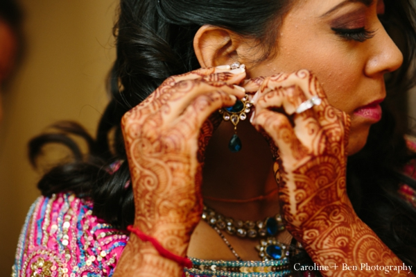 Indian wedding getting ready mehndi bride