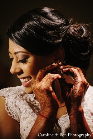 Indian wedding portrait bride mehndi
