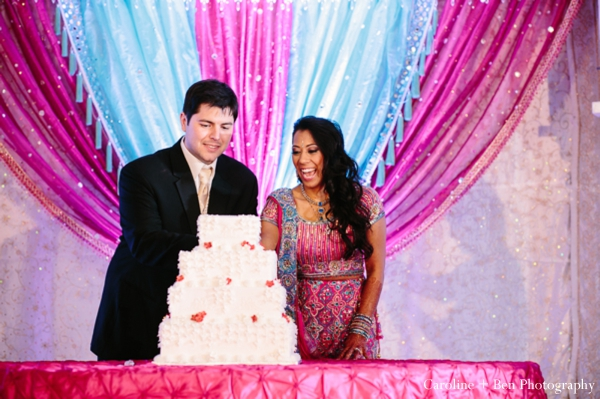 Indian wedding reception bride groom cake
