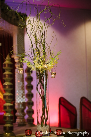 Indian wedding reception decor detail floral