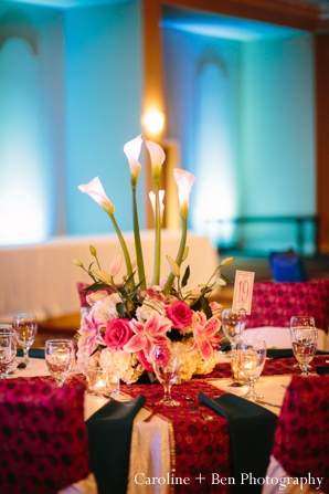 Indian wedding reception decor flower setting