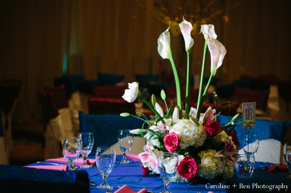 Indian wedding reception flower setting table