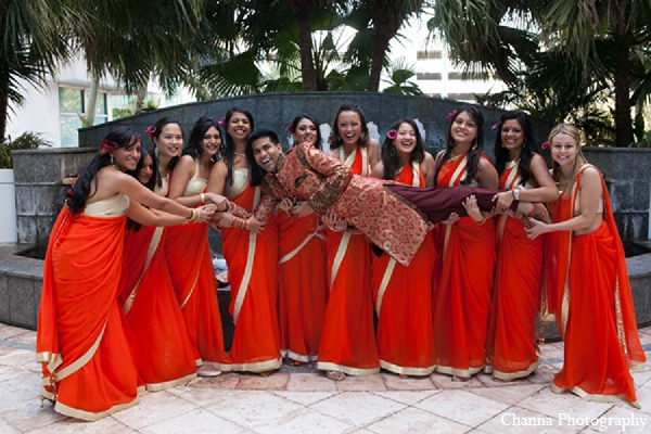 Indian wedding bridal party groom photo ideas in Hollywood, Florida Indian Wedding by Channa Photography